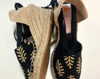 Lace-up ESPADRILLE WEDGES  - organic vegan sustainable - SIZE eu 36 Lace Up (7 cm - 2.72i) - MuMiCo Collection 2020 - Made in Spain