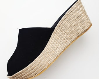 Espadrille clogs, 6cm wedges + platform - BLACK SPLIT LEATHER - made in Spain - www.mumicospain.com