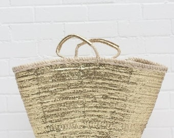 Palm basket Shopper - 50cm x 35cm x 18cm - GOLDEN SEQUINS - made in Morocco - beach, shopping, vegan