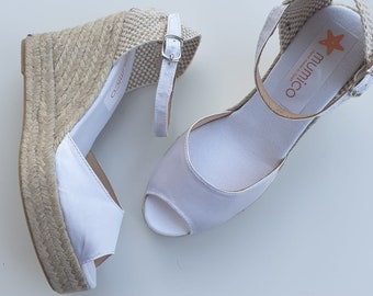 White Satin Ankle strap Espadrille Platform Wedges - peep toes - BRIDES COLLECTION- Made In Spain