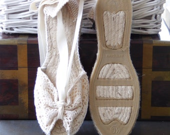 Lace-up Espadrille MINIWEDGES - CROCHET COLLECTION  - Made In Spain