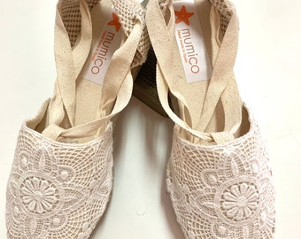 ESPADRILLES SIZE eu 37  -  Lace Up (3cm - 1.18i) vegan sustainable - Off ivory laces - Made in Spain