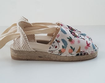 Lace-up Espadrille MINIWEDGES - FRIDA KHALO  - Made In Spain - www.mumicospain.com