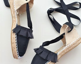 Flat shoes for girl: Lace-up Espadrilles - SATIN TRIM - made in Spain - www.mumicospain.com