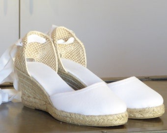 White Lace Up Espadrille Wedge Pumps - WHITE / without front stitching- made in Spain - www.mumicospain.com