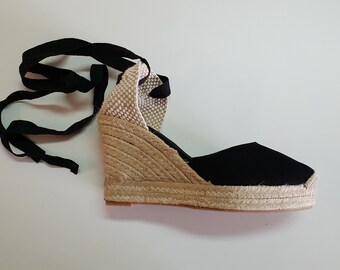 Lace Up Espadrille Wedge Pumps - BLACK PUMPS with PLATFORM - made in Spain - www.mumicospain.com