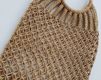 Rope woven bag with wooden handles -  46cm x 33cm  - MACRAME ROPE BAG - www.mumicospain.com