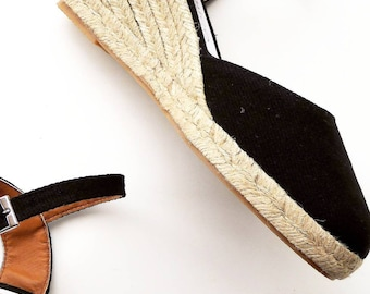 Ankle strap espadrille wedges 7cm - NO STITCHING / BLACK - made in Spain - www.mumicospain.com