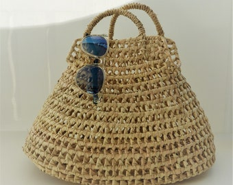 Palm basket handbag - 38cm x 24cm x 24cm - SPIRALLED PORTUGUESE BASKET- made in Portugal - www.mumicospain.com