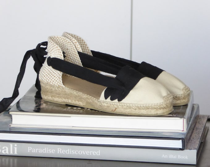 Featured listing image: Lace Up Espadrilles MINIWEDGES - IVORY PAYESAS - Handmade In Spain - www.mumicospain.com