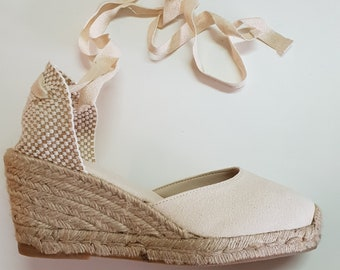 Lace Up pump espadrille wedges (7cm - 2.76i) - FRONT STITCHING / IVORY - Made in Spain - www.mumicospain.com