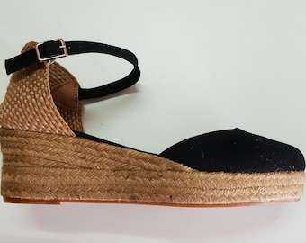 ESPADRILLES WEDGES PLATFORM - Ankle strap espadrille low wedges with platform - black canvas - made in Spain - organic sustainable fashion