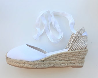 ESPADRILLES WEDGES - PUMPS - organic vegan sustainable - Lace Up  (5cm - 1.97i) - front stitching/ white - Made in Spain