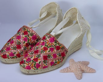 Lace-up espadrille wedges - INDIAN COLLECTION - made in spain - www.mumicospain.com