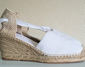 Lace Up espadrille high wedges (7cm-2.76) - brides collection - VISBLE SEAM / WHITE - made in spain - www.mumicospain.com