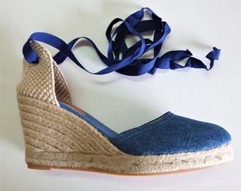 LAST PAIR US 8.5 - denim espadrille wedges - lace up espadrille high wedges - Blue jeans / size eu 39, size us 8.5 - great quality