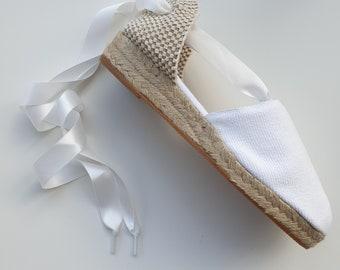 WHITE SATIN espadrille laces - www.mumicospain.com