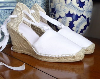 Lace Up Espadrille WEDGES - BRIDES COLLECTION - Made In Spain - www.mumico.es