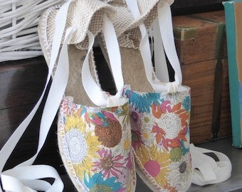 Lace-up flat espadrilles - LIBERTY OF LONDON collection - made in Spain