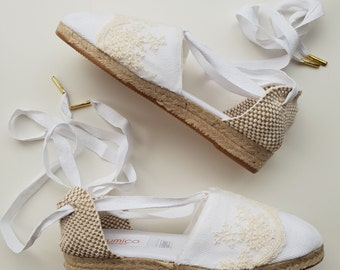 16724a42e Lace-up espadrille mini wedges - BRIDES COLLECTION - LACE - made in spain -
