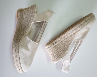 Last pair: IVORY ESPADRILLE WEDGES - elastics - made in Spain - ecologic, vegan, made in Europe