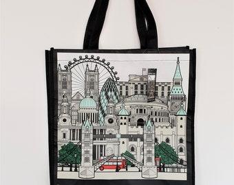 Plastic Shopping Bag - LONDON SHOPPING BAG - www.mumicospain.com