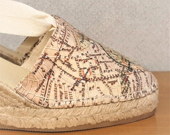 ESPADRILLE MEDIUM WEDGES - organic vegan sustainable - Lace Up (5cm - 1.97i) - London Map Collection - Made in Spain