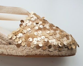 Lace-up espadrille 7cm wedges - GOLDEN SEQUINS - made in Spain - www.mumicospain.com