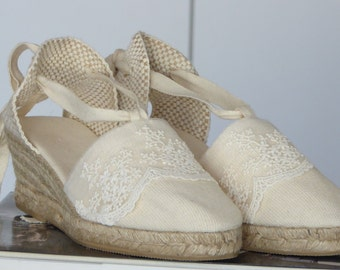 Lace-up espadrille 7cm wedges - IVORY / LACE TRIM - made in Spain - www.mumicospain.com