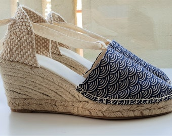Lace-up espadrille 7cm wedges - JAPANESE COLLECTION - made in spain - www.mumicospain.com