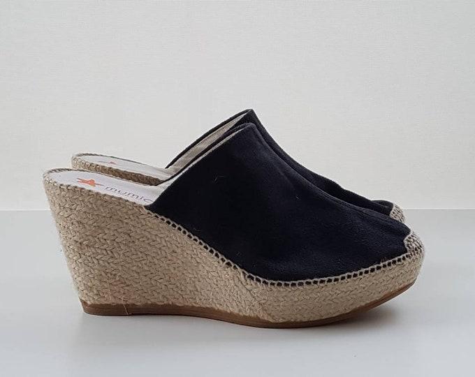 Featured listing image: Espadrille clogs, 7cm wedges + 3 cm platform - DARK GREY SUEDE - made in Spain - www.mumicospain.com