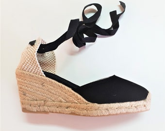 Lace Up pump espadrille wedges (7cm - 2.76i) - FRONT STITCHING / BLACK - Made in Spain - www.mumicospain.com