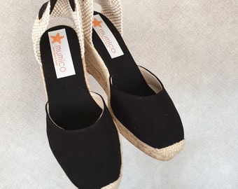 ESPADRILLES WEDGES - PUMPS - organic vegan sustainable - Lace Up  (9cm - 3.54i) - front stitching/ black canvas - Made in Spain - vegan