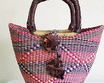 Elephant grass African Shopper - MINI SHOPPER -BOLGA basket - made in Ghana - www.mumicospain.com