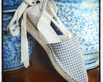 Lace-up espadrille mini wedges - GINGHAM COLLECTION - mumishoes - made in spain