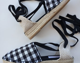 ESPADRILLE MINI WEDGES - organic vegan sustainable - Lace Up (3cm - 1.18i) - Gingham & Moles - Made in Spain
