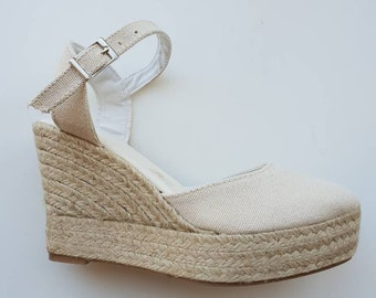 ESPADRILLES PLATFORM WEDGES - ankle strap - ivory cotton - made in spain - ecologic, organic, sustainable shoes