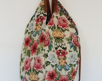 Canvas shoulder bag with leather handles - VINTAGE FLOWERS SAC - www.mumicospain.com