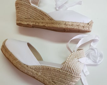 Lace Up pump espadrille wedges (7cm - 2.76i) - brides collection - FRONT STITCHING / WHITE - Made in Spain - www.mumicospain.com
