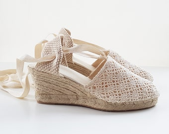 Lace-up ESPADRILLE WEDGES - CROCHET Collection - made in Spain - www.mumicospain.com