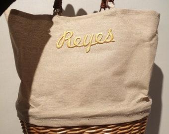 Customize canvas and wicker bag -  35cm x 29cm x 10cm - CUSTOMIZED BASKET BAG - www.mumicospain.com
