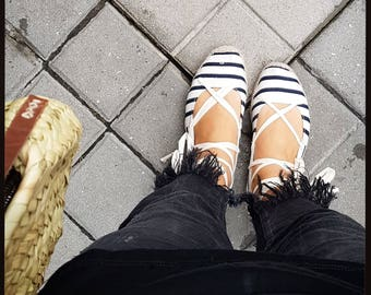Lace up Flat espadrilles - STRIPED BALLERINA - made in spain - www.mumicospain.com