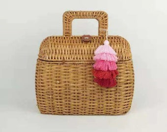 WICKER bag with handle - made in Spain - www.mumicospain.com