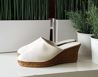 SALE: Espadrille clogs, 7cm wedges - IVORY canvas CLOGS - made in Spain - www.mumicospain.com