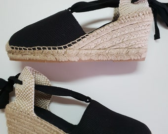 Lace Up espadrille high wedges (7cm-2.76i) - VISIBLE SEAM / BLACK - Made in Spain - www.mumicospain.com