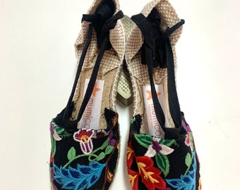 ESPADRILLE FLATS, SIZE eu 39 - Embroidery Collection - made in Spain - ecologic, sustainable, vegan