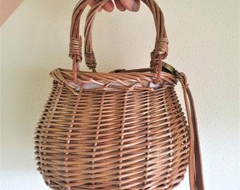 WICKER bag with VEGAN leather handle - natural, VEGAN - www.mumicospain.com