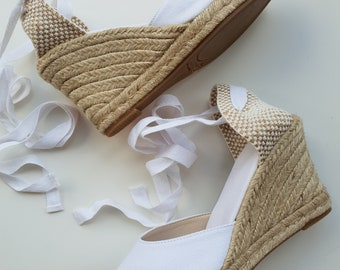Lace Up pump espadrille wedges (9cm - 3.54i) - FRONT STITCHING / WHITE - Made in Spain - www.mumicospain.com