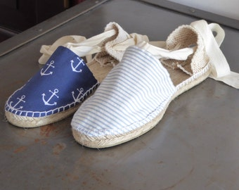 Lace-up flat espadrilles - NAVY/PIRATE COLLECTION - made in spain - www.mumicospain.com