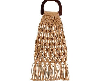 Linen knots handbag with wooden handles -  38cm x 21cm  - LINEN KNOTS HANDBAG - www.mumicospain.com